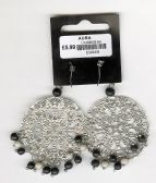 SLIVER DISC EAR RINGS WITH BLACK AND GREY BEEDS( FJ12 )